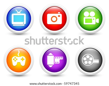 Media Icons on Simple Round Button Collection Original Illustration