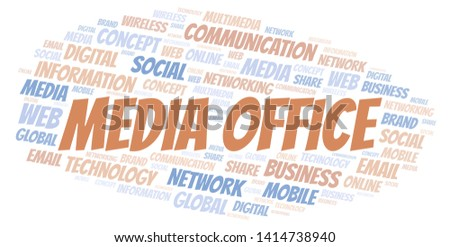 Media Office word cloud. Word cloud made with text only.