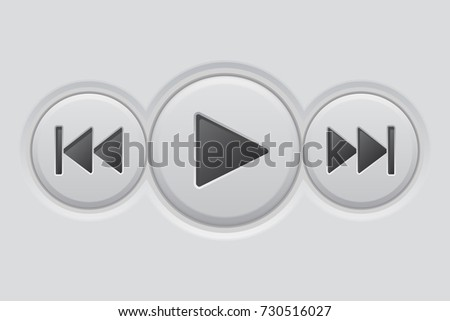 Media player buttons on gray background. 3d illustration. Raster version