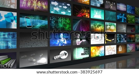 Media Technologies Concept as a Video Wall Background