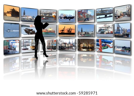 Media wall with portfolio pictures of ships and harbour