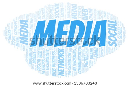 Media word cloud. Word cloud made with text only.