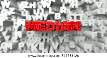 MEDIAN -  Red text on typography background - 3D rendered royalty free stock image. This image can be used for an online website banner ad or a print postcard.