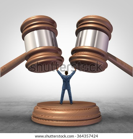 Mediation resolution and mediate legal disputes in business as a concept with a businessman or lawyer separating two judge mallets or gavel as competitors in arbitration.