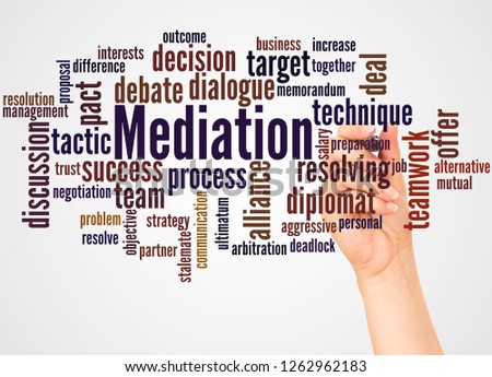 Mediation word cloud and hand with marker concept on white background. Сток-фото ©