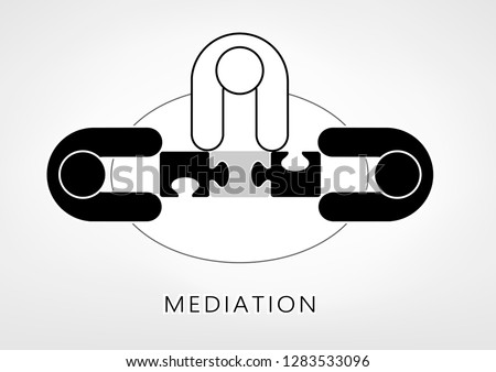 mediator and two persons add up puzzle pieces on the light grey background. flat style, top view,  illustration, horizontal