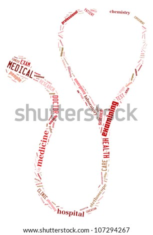 Medic info-text graphics composed in stetoskop shape concept (word clouds) on white background