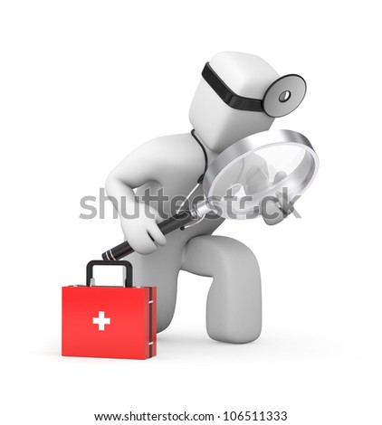 Medic with magnifying glass exploration something