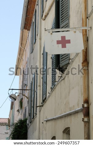 Medical aid sign, Antibes, France