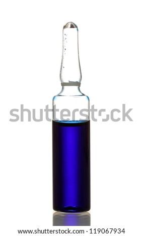 medical ampule with blue liquid, isolated on white