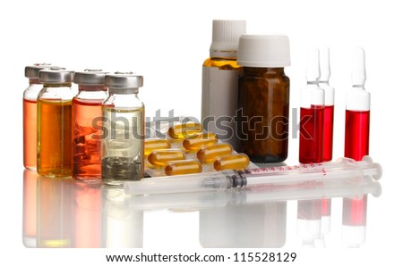 medical ampules, bottles, pills and syringes, isolated on white - stock photo