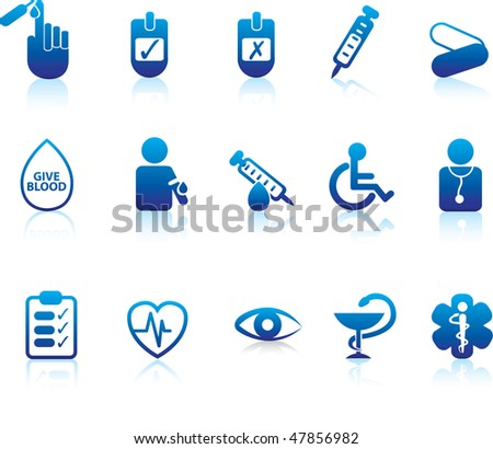 medical and diabetes and hospital symbols and icons