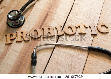 Medical and health care words writing typography lettering concept, Probiotic #1261057939