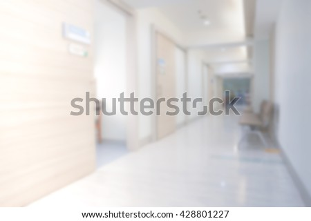 Medical and hospital corridor blurred background.