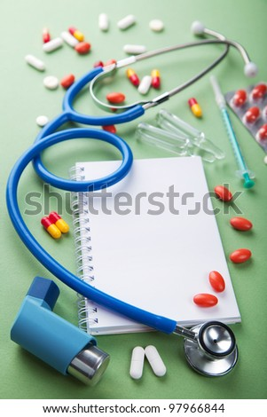 medical background with notebook