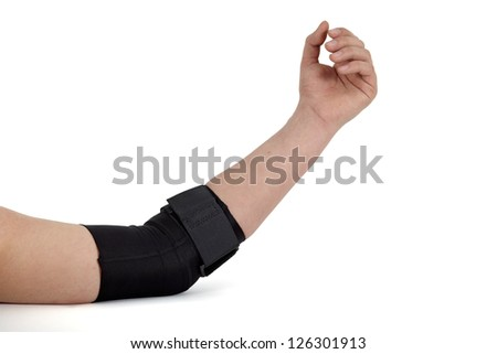 Medical bandage around a woman's arm.
