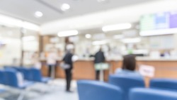 Medical blur background patient service counter, hospital lobby, cashier and pharmacy dispensary counter blurry interior inside waiting hall area