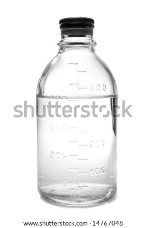 Medical bottle for infusions with physiologic saline, isolated, on white background