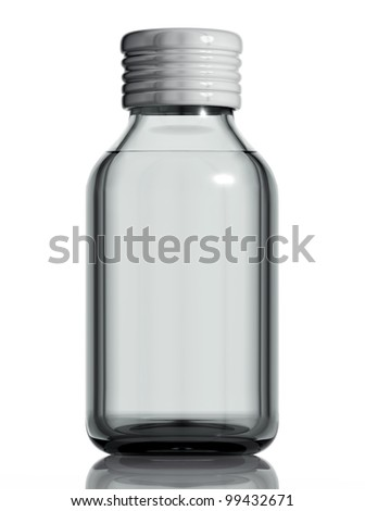 Medical bottle of clear glass with liquid isolated on white background, 3d.