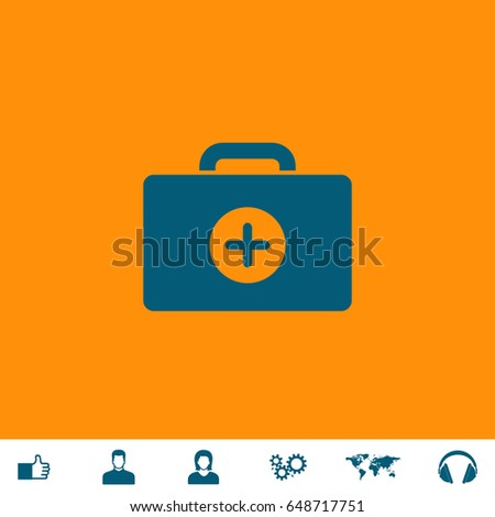Medical box Icon Illustration. Blue pictogram on orange background and bonus icons Thumb up, Man and Woman avatar, Gears, World map, Headphones