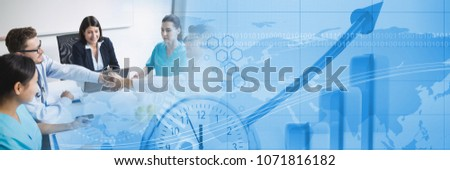 Medical business meeting with blue finance graph transition