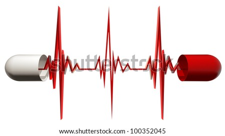 Medical capsule opened with cardiogram isolated on white background, cardiology concept, 3d.