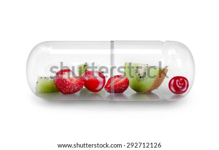 Medical capsule with berries isolated on white #292712126