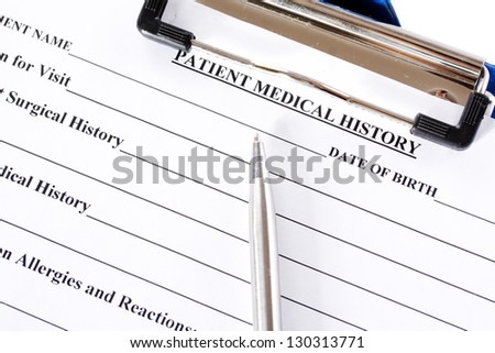 Medical claim form and patient medical history questionnaire