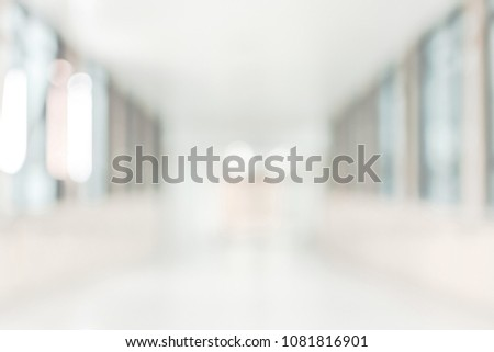 Medical clinic blur background healthcare hospital service center in patient?? ward with blurry perspective view interior white room, lab corridor hallway, lobby or walkway for nursing care facility