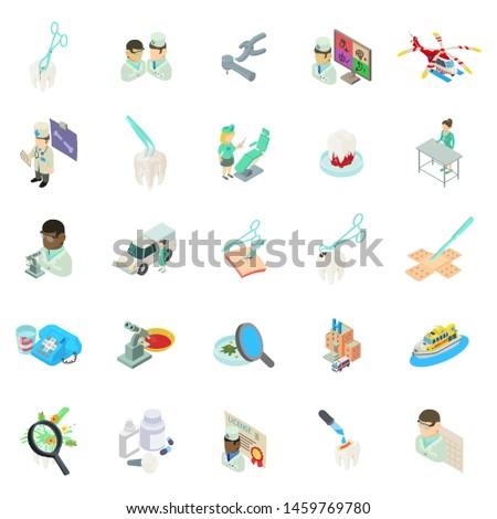 Medical clinic icons set. Isometric set of 25 medical clinic icons for web isolated on white background