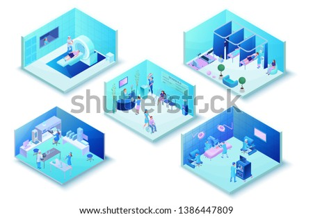 Medical clinic infographics with hospital hall interior, laboratory, surgery, physiotherapy, mri scanning, healthcare 3d isometric illustration wirh doctor, patient, diagnosis and treatment