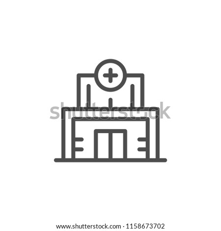 Medical clinic line icon isolated on white