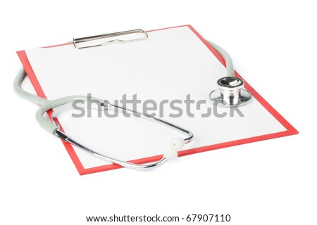 Medical clipboard with blank paper for messages and a stethoscope - stock photo