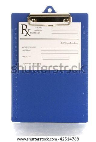 medical clipboard with prescription pad with reflection on white background