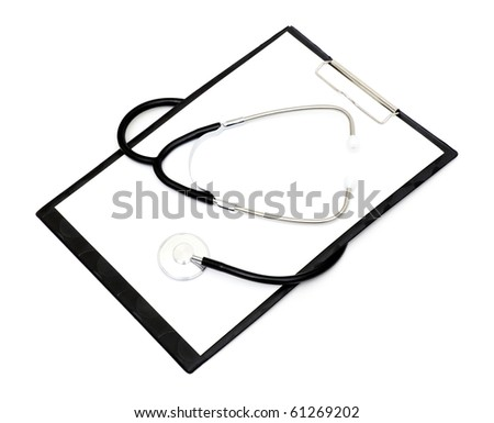 Medical clipboard with stethoscope and pen isolated on a white background