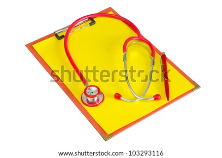 Medical clipboard with  stethoscope. Isolated on white background