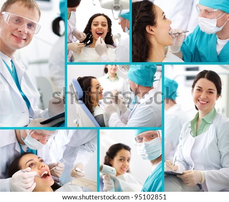 Medical collage composed of photos on a dentistry topic