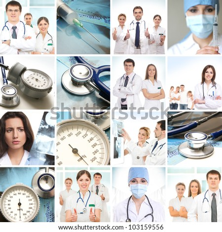Medical collage made of many pictures