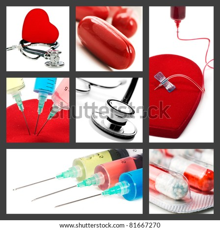 Medical collage with syringes stethoscope and pills