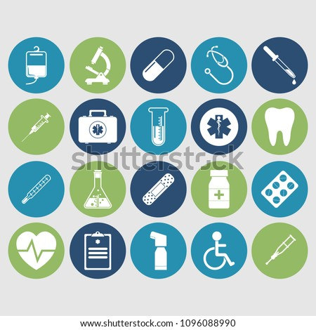 Medical concept background. Icons of medical equipment, diagnostics and medicine. Abstract medicine background.  Illustration.