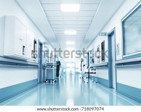 Shutterstock Medical concept. Hospital corridor with rooms. 3d illustration
