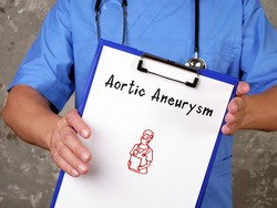 Medical concept meaning Aortic Aneurysm  with inscription on the sheet.