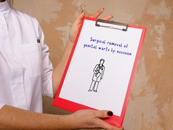 Medical concept meaning Surgical removal of genital warts by excision with inscription on the page.