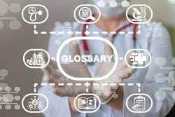 Medical concept of glossary. Medicine or Pharmacy Vocabulary.