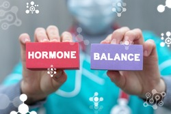 Medical concept of hormone balance. Hormonal therapy. Hormones treatment innovation.
