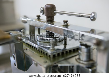 Medical concept, Pharmaceutical factory with Capsule filling machine #627496235