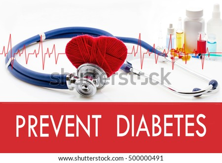 Medical concept, prevent diabetes. Stethoscope and red heart on a white background Stock photo ©