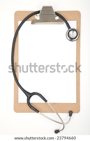 Medical concept with stethoscope and clipboard on white