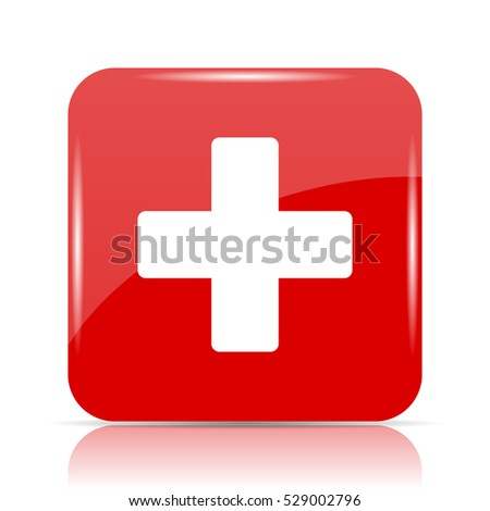 Medical cross icon. Medical cross website button on white background.