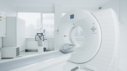Medical CT or MRI or PET Scan Standing in the Modern Hospital Laboratory. Technologically Advanced and Functional Mediсal Equipment in a Clean White Room.